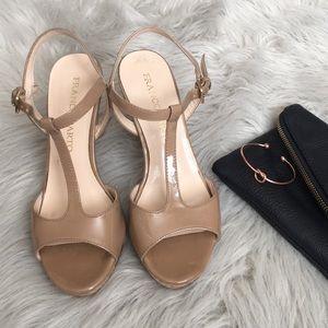 Franco Sarto T-strap tan/nude patent leather heels